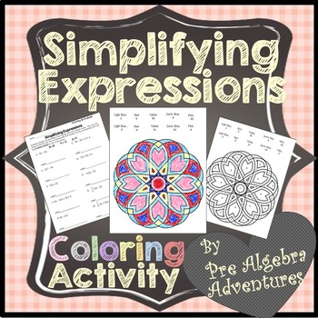 Simplifying Expressions Coloring {Distributive Property and Combine Like Terms}
