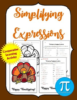 Simplifying Expressions - Combine Like Terms Thanksgiving