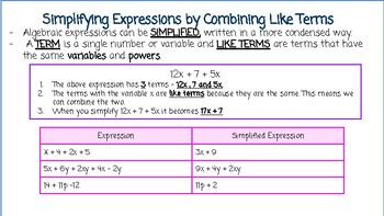 Simplifying Expressions & Combining Like Terms