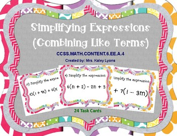 Simplifying Expressions (Combining Like Terms) Task Cards