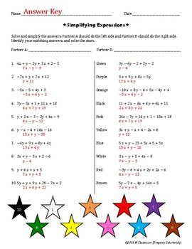 Simplifying Expressions Cooperative Learning Activity