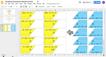 Simplifying Expressions DIGITAL Matching Activity for Google Drive™