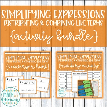 Simplifying Expressions (Distribute & Combine Like Terms) Activity Mini-Bundle