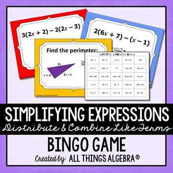 Simplifying Expressions Distribute Combine Like Terms Bingo Tpt