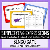 Simplifying Expressions (Distribute & Combine Like Terms) Bingo