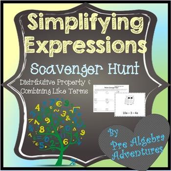 Simplifying Expressions Scavenger Hunt {Algebra Activities} {Algebra Games}