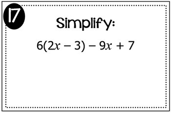 Simplifying Expressions (Distribute and Combine Like Terms) Triples Activity