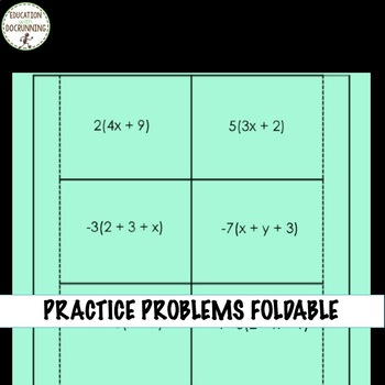Simplifying Expressions Distributive Property Interactive Notebook
