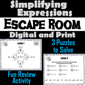 Simplifying Expressions Game: Algebra Escape Room Math