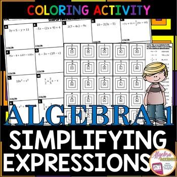 Simplifying Algebraic Expressions Granny Squares Coloring Activity