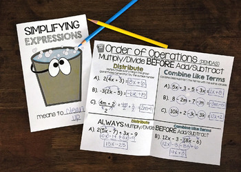 Simplifying Expressions Interactive Notebook Foldable