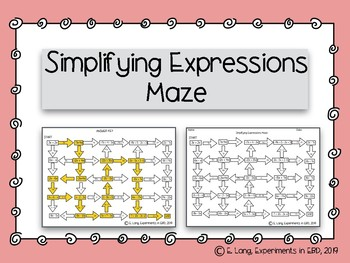 Simplifying Expressions Maze Activity