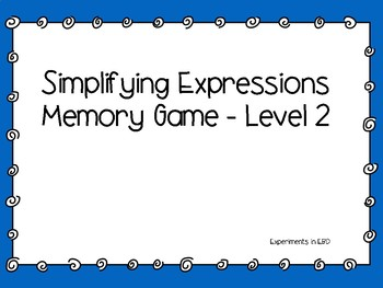 Simplifying Expressions Memory Game - Level 2