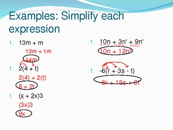 Simplifying Expressions Notes