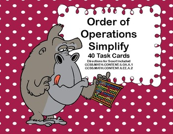 Simplifying Expressions-Order of Operations-Task Cards for Grades 5-7