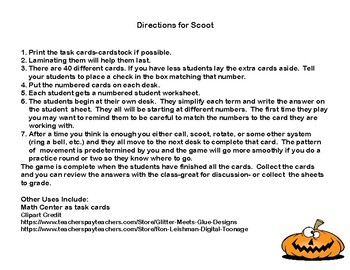 Simplifying Expressions-Order of Operations-Task Cards for Grades 5-7-Halloween