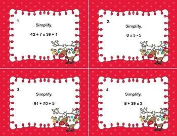 Simplifying Expressions-Order of Operations-Task Cards for Grades 5-7-Reindeer