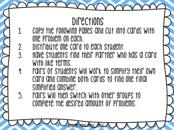 Simplifying Expressions Partner Activity Cards