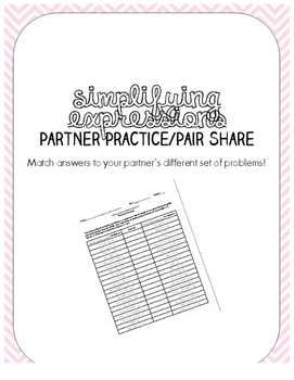 Simplifying Expressions Partner Practice