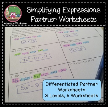 Simplifying Expressions Partner Worksheet - Differentiated