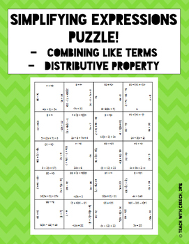 Simplifying Expressions Puzzle - Distributive Property and Combining Like Terms