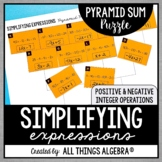 Simplifying Expressions (Distribute and Combine Like Terms) Pyramid Sum Puzzle