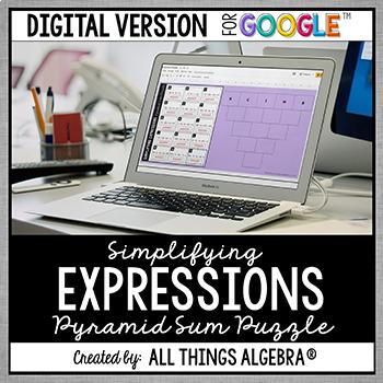 Simplifying Expressions Pyramid Sum Puzzle - GOOGLE SLIDES VERSION