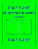 Simplifying Expressions - RELAY RACE Sample (1 page)
