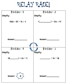 Simplifying Expressions Relay Race