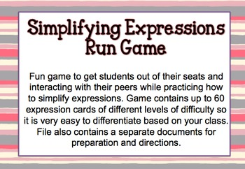 Simplifying Expressions Run (Game)