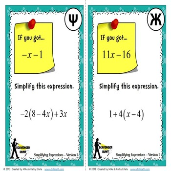 Simplifying Expressions {Scavenger Hunt}