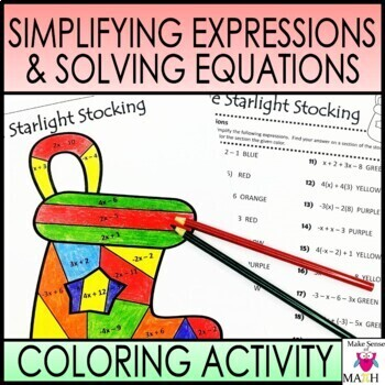 Christmas Expressions.Christmas Math Activity Simplifying Expressions Solving Equations