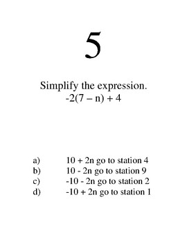 Simplifying Expressions Station Game