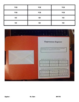 Simplifying Expressions TEI Folder Activity