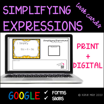 Simplifying Expressions Task Card and Poster Set *7.EE.1