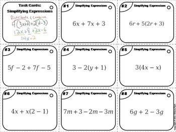 Simplifying Expressions Task Cards 6th 7th 8th 9th Grade