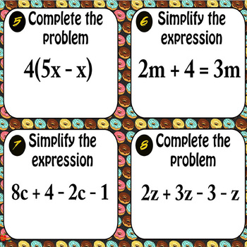 Simplifying Expressions Task Cards