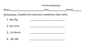 Simplifying Expressions Test