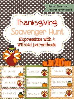 Simplifying Expressions Thanksgiving  Scavenger Hunt