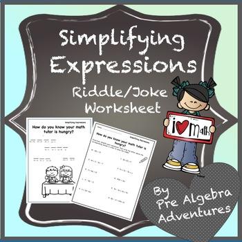 Simplifying Expressions Worksheet {Simplifying Algabraic Expressions Activity}