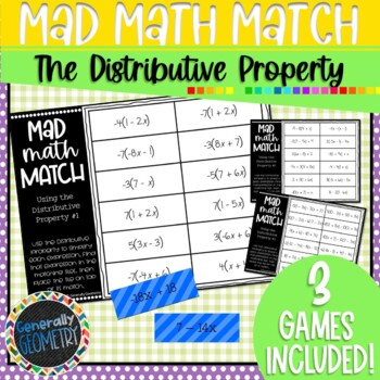 The Distributive Property Mad Math Match: 3 Games Included; Algebra 1