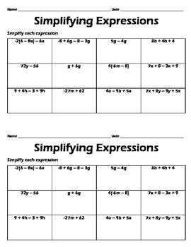 Simplifying Expressions Worksheet