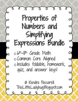 Simplifying Expressions and Properties of Numbers Bundle {Editable}