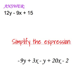 Simplifying Expressions including Distributive Property Wrap-Around Activity