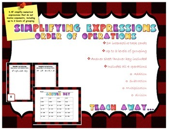 Simplifying Expressions: order of operations task cards