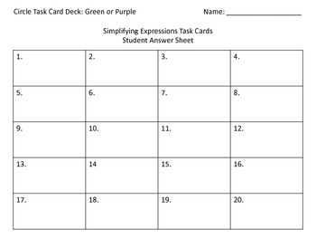 Simplifying Expressions & the Distributive Property Task Cards