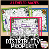 Simplifying Algebraic Expressions using the Distributive Property Mazes 3 Levels