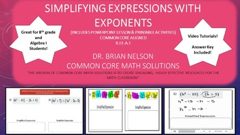 Simplifying Expressions with Exponents - PowerPoint Lesson and Printables!