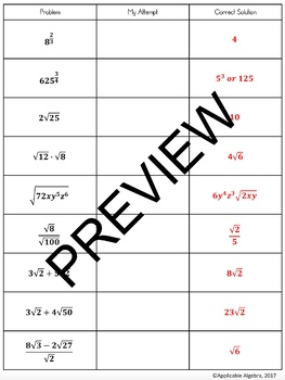 Simplifying Expressions with Exponents and Radicals - Study Guide - Review