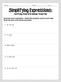 Simplifying Expressions with Number Properties
